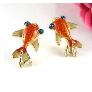 Gold fish earrings blue eyed